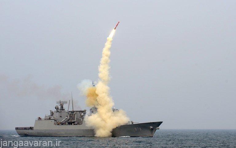 موشک هاینمو3 در حال پرتاب از ناوشکن Sejong the Great