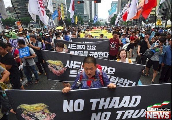 معترضان کره جنوبی: موشک تاد خیر، ترامپ خیر