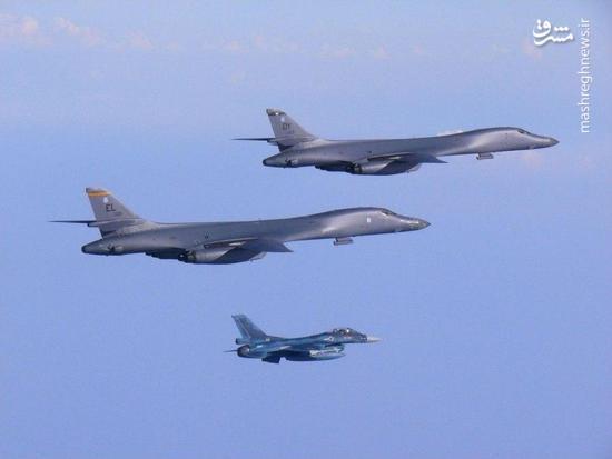 بمبافکن اتمی »بی-۱ بی» آمریکا بر فراز شبه جزیره کره به پرواز درآمد