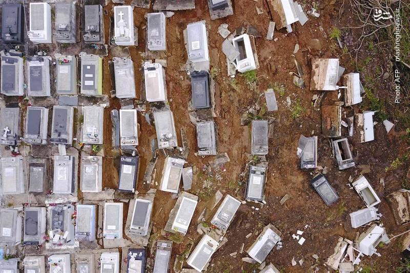 آرامگاههایی در پورتوریکو که به دلیل رانش زمین جابجا شدهاند.