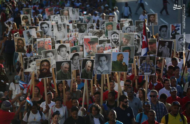 برگزاری مراسم اولین سالگرد درگذشت کاسترو در سانتیاگوی کوبا