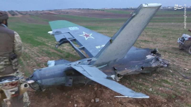 تصاویری از جنگنده روسی که در ادلب منهدم شد