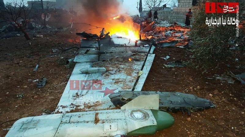 منهدم شدن جنگنده روسیه در ادلب سوریه