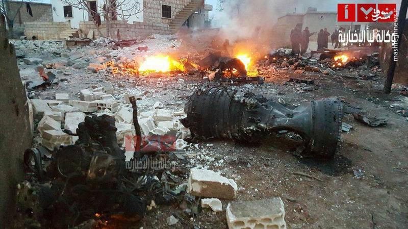لاشه سوخو 25 روسی در ادلب سوریه