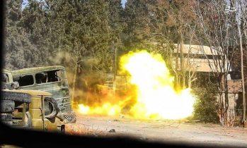 آخرین تحولات میدانی استان دمشق؛ شخم گروههای تروریستی در غوطه شرقی با آتش یگان توپخانه «ببر سوریه» + نقشه میدانی و تصاویر