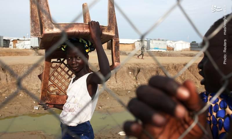 اردوگاه موقت سازمان ملل برای مردم سودان جنوبی که از جنگ داخلی به تنگ آمدهاند.