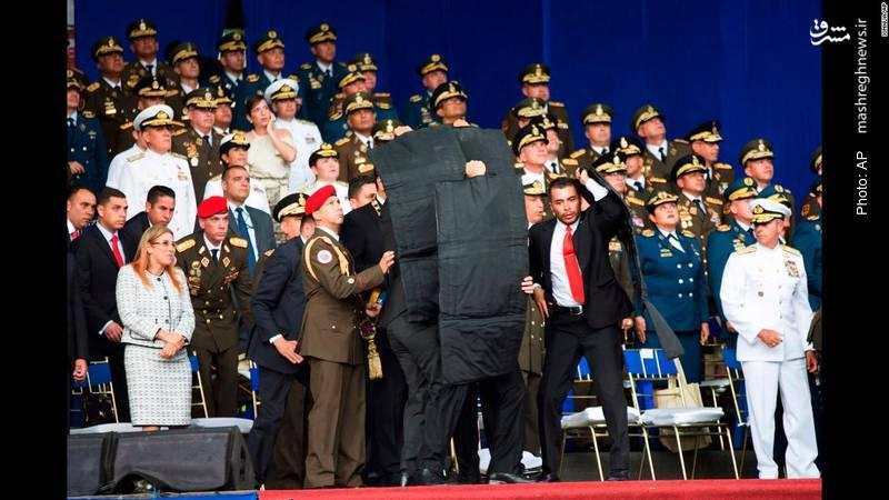محافظت از مادورو رئیسجمهور ونزوئلا پس از شنیدهشدن صدای انفجار و احتمال عملیات ترور با پهبادهای مسلح