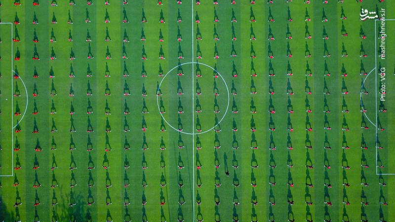 تمرین جمعی هنرهای رزمی در آستانه روز ملی تناسب اندام در چین